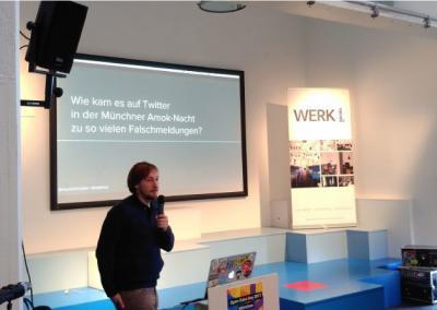 """Vortrag Hackathon 17 """"Wie kam es auf Twitter in der Münchner Amok-Nacht zu so vielen Falschmeldungen"""""""