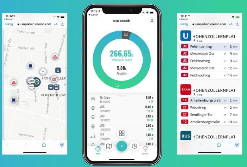 Umparken-Informationen in der App