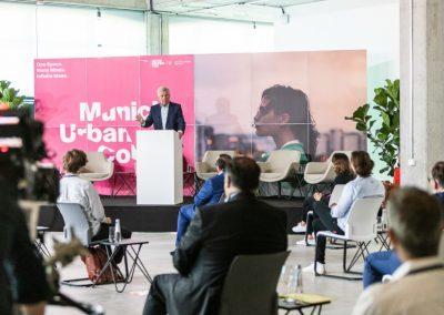 Oberbürgermeister Dieter Reiter spricht bei der Eröffnungsfeier des Munich Urban Colab