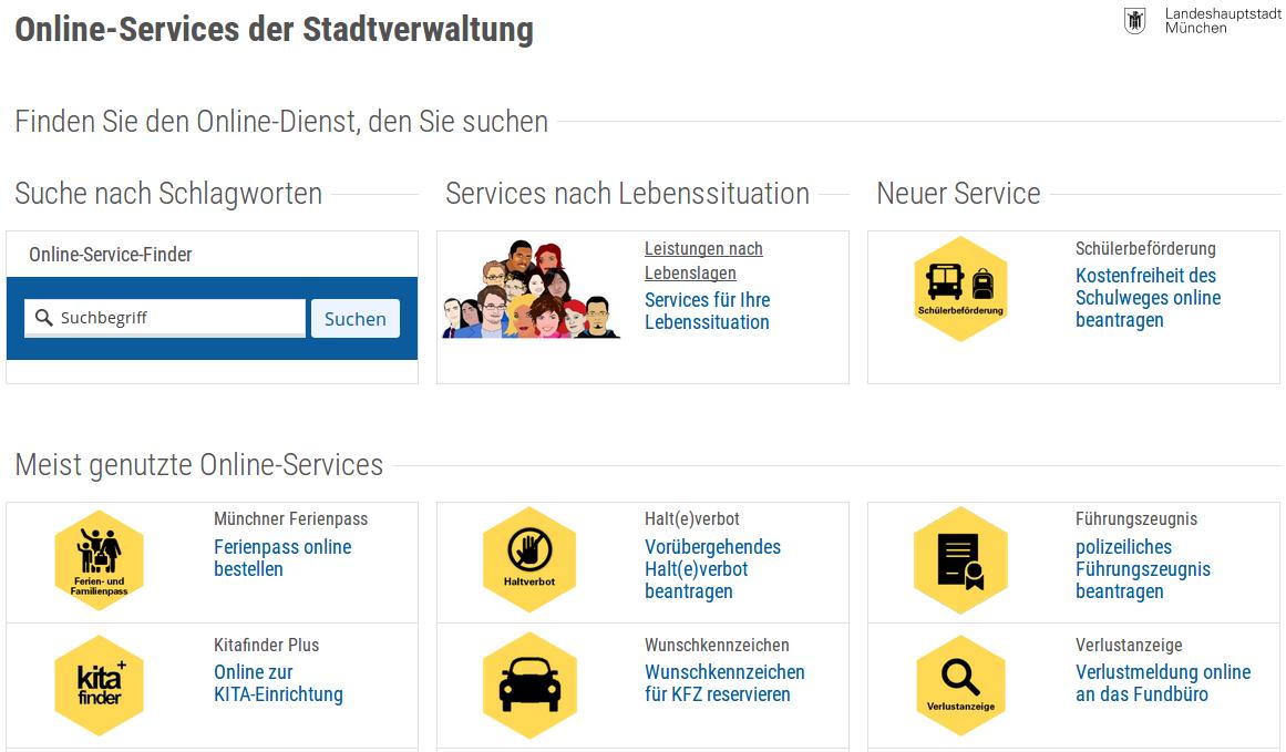 Serviceportal - Online-Dienste der Stadtverwaltung