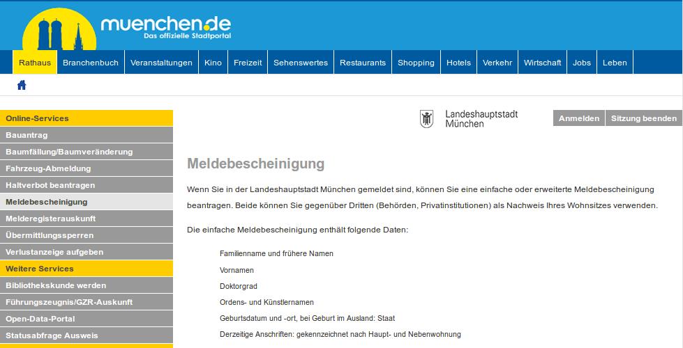 Online-Service-Portal der Stadt München