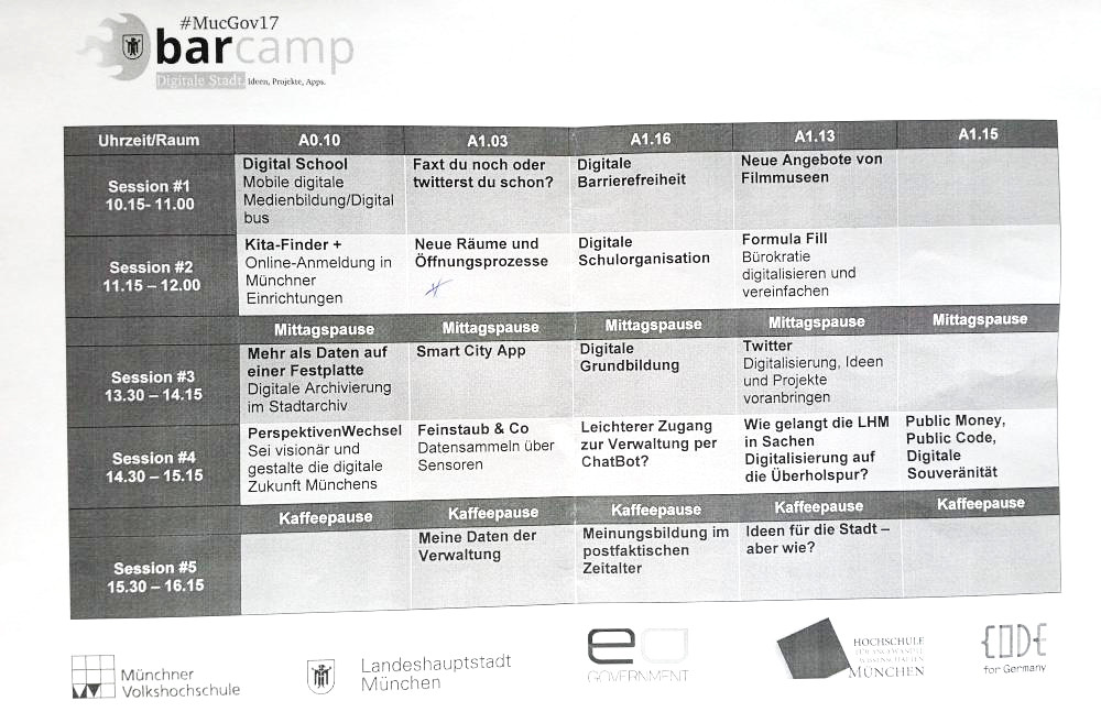 Sessionplan BarCamp #MucGov17