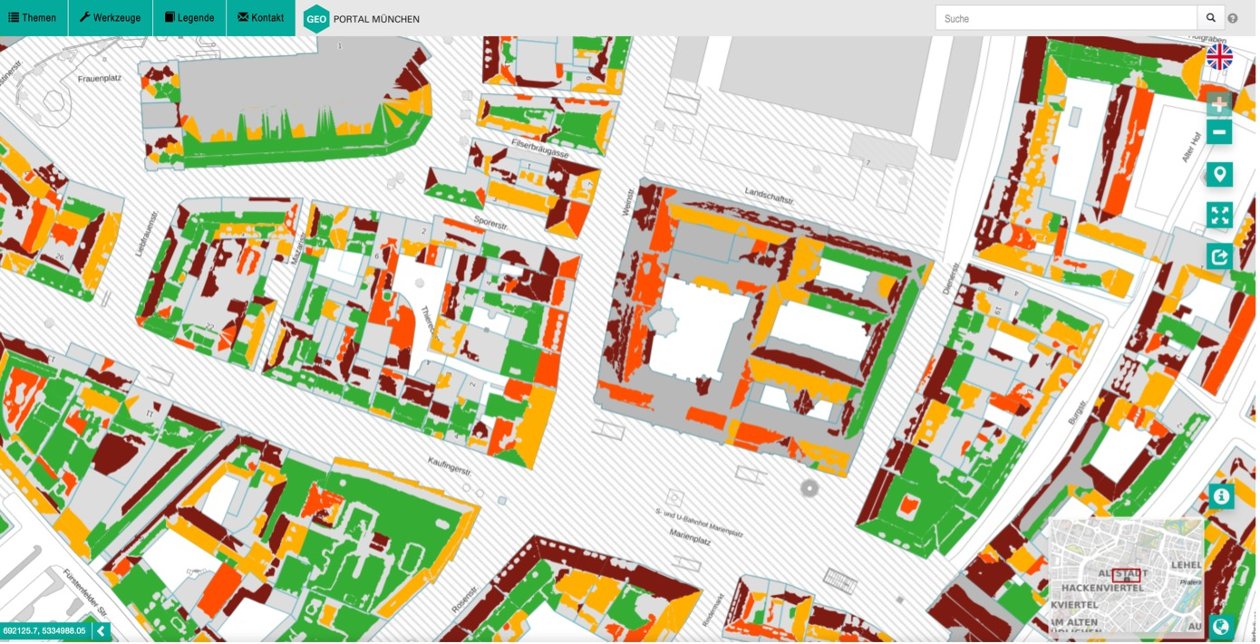 Solarpotenzialkarte der Landeshauptstadt München