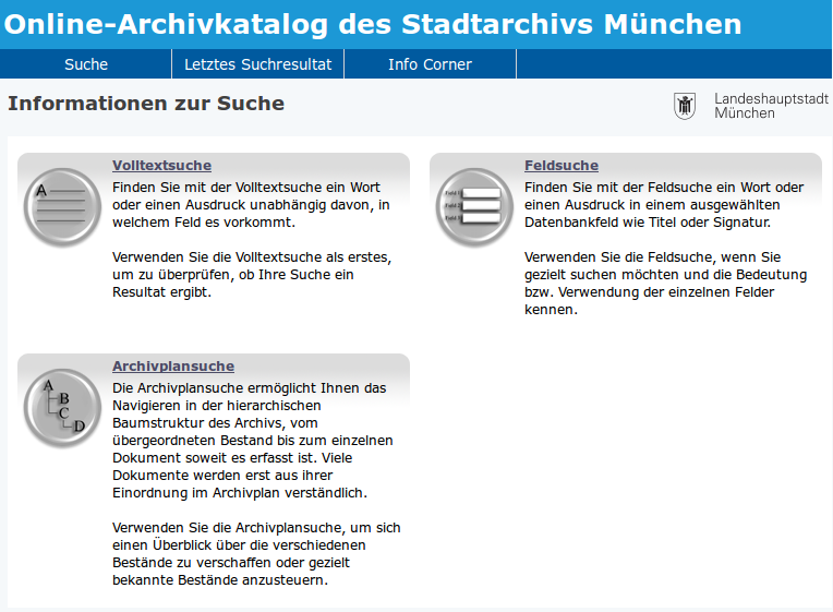 Online recherchieren im Stadtarchiv München
