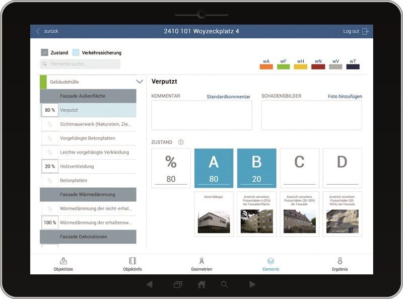 Screenshot des Tablets für die CAFM Fachanwendung