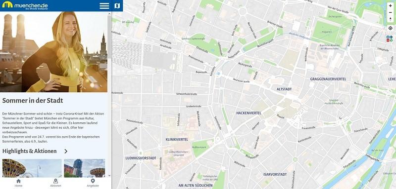 Screenshot der Web-App für das Programm Sommer in der Stadt