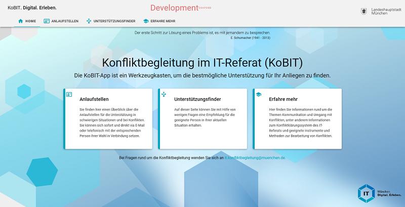 Screenshot der Oberflaeche der KoBIT-App