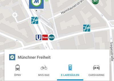 Übersicht Öffentliche Verkehrsmittel in der SmartCity App